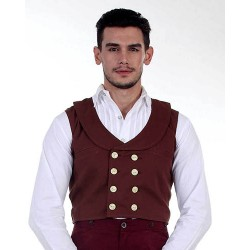 Steampunk Double Breasted Brown Engineer Vest