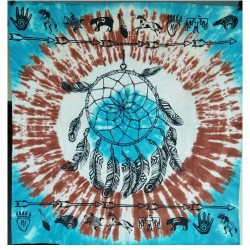 "Dreamcatcher & Animal Totems on Turquoise / White Tie Die altar cloth 36"" x 36"""