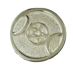 """Silver Plated Brass Triple Moon altar tile 3 1/2"""""""