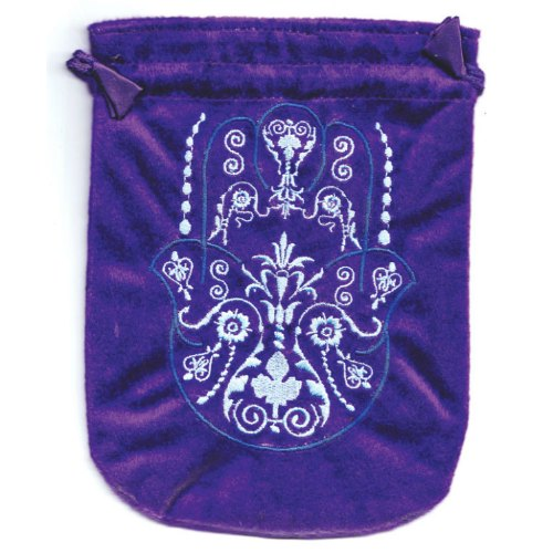 "Fatima Hand Purple Velveteen Bag 6"" x 8"""