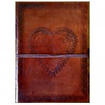 Heart leather blank book w/cord
