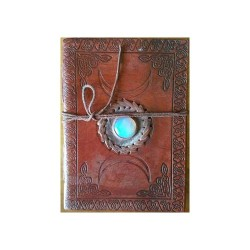 "Triple Moon Embossed Leather  Journal w/ Moonstone  & Cord 5"" x 7"""