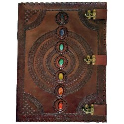 "7 Chakra Stone Leather Tome w/ 3 latches 13.5"" x 18"""
