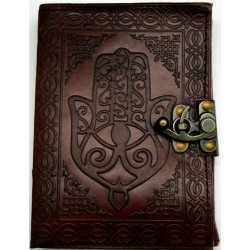 "Hamsa Hand Leather Journal w/ Latch 5"" x 7"""