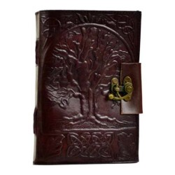 """Tree of Life Leather Blank Book w/ Latch 5"""" x 7"""""""