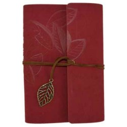 "Leaf Embossed Leather Refillable Journal | Red 5"" x 7.25"""