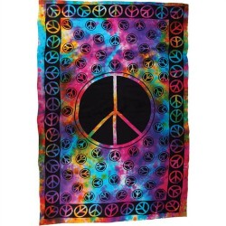 "Peace Sign Te Dye Tapestry 72"" x 108"""