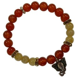 Carnelian & Rutilated Quartz Bracelets with Ganesha