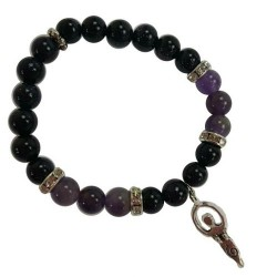 Purple Goldstone & Amethyst 8mm Bracelet with Goddess