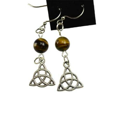 Tiger Eye Triquetra Earrings