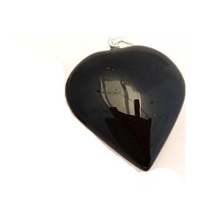 Black Tourmaline Heart Pendant 1""