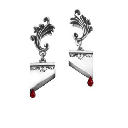 Marie Antoinette Guillotine Blade Earrings w/ Swarovski Crystal Blood Drop