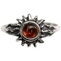 Amber & Sterling Silver Radiant Sun Ring
