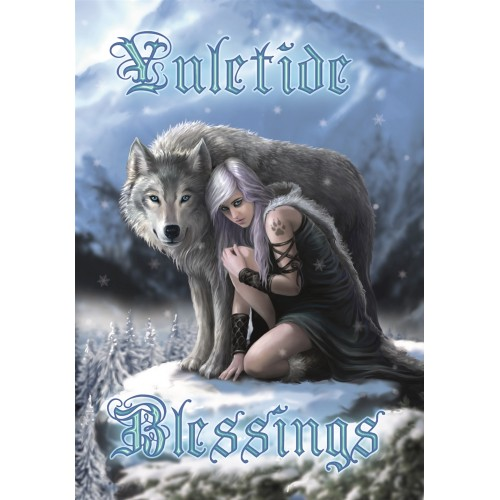 Anne Stokes Yule Card 6 Pack - Protector Wolf