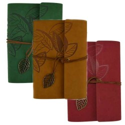 """Leaf Embossed Leather Refillable Journal 
