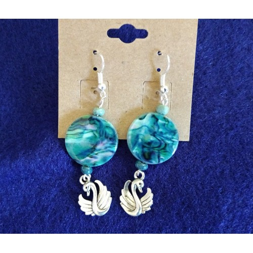 2 Crones Earrings - Blue Shell & Swan Earrings