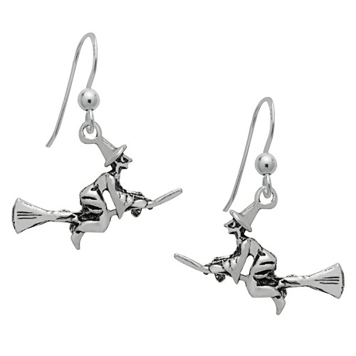 Flying Witch on Broomstick Dangle Earrings Sterling Silver by Symbology