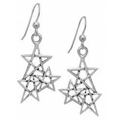 Symbology Earrings - Three Pentagrams Hanging Dangle Sterling Silver