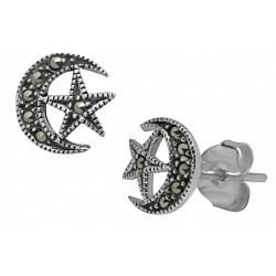 Symbology Earrings - Crescent Moon & Star Marcasite Sterling Silver Stud