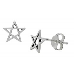 Symbology Earrings - Pentagram Petite Studs Sterling Silver