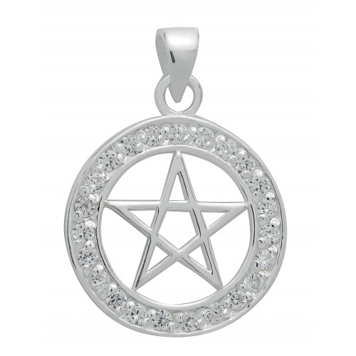 Symbology Pendant - Brilliant Silver Pentagram for Success