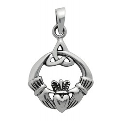Symbology Pendant - Triquetra Trinity Claddagh Sterling Silver