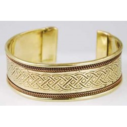 Celtic Knot Copper & Brass Engraved Cuff