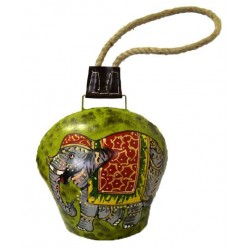 "Bell - Elephant 8"" painted bell with rope"