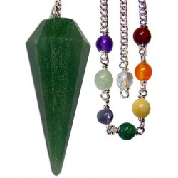 Pendulum - Green Aventurine with Chakra Beads for Luck, Creation & Insight