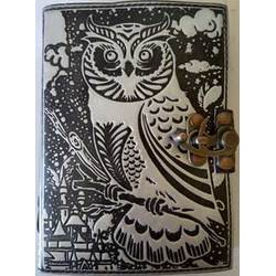 Owl Leather Blank Book w/ latch in black/ silver