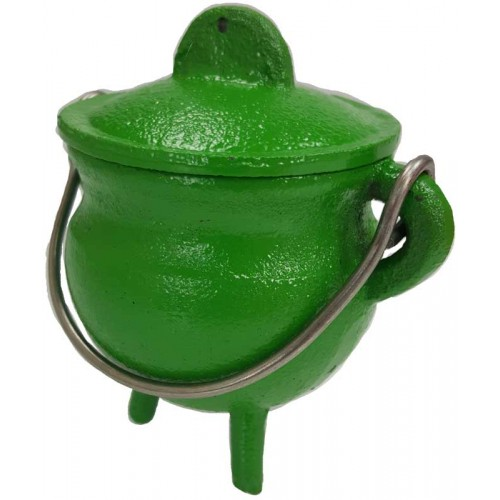 "Cauldron - 3"" Cast Iron Cauldron w/ Lid in Green"